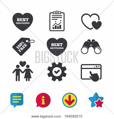 Valentine day love icons. Best girlfriend and boyfriend symbol. Couple lovers sign. Browser window, Report and Service signs. Binoculars, Information and Download icons. Stars and Chat. Vector
