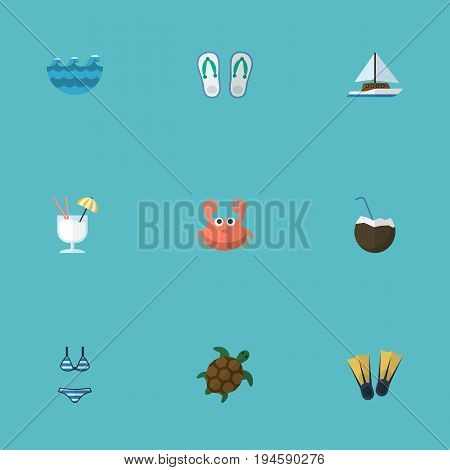 Flat Icons Drink, Tortoise, Sailboard And Other Vector Elements. Set Of Summer Flat Icons Symbols Also Includes Flop, Underwear, Sea Objects.