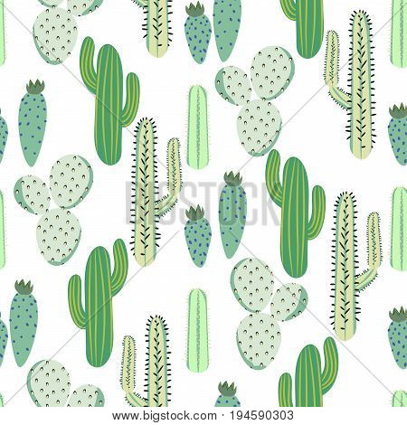 Various cacti desert vector seamless pattern. Abstract thorny mint green color plants nature fabric print.