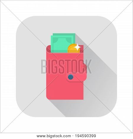 Flat wallet icon. Pink wallet with cash and coin. Internet sign with long shadow in cartoon style. Web and mobile design element. Money symbol. Vector colored illustration.