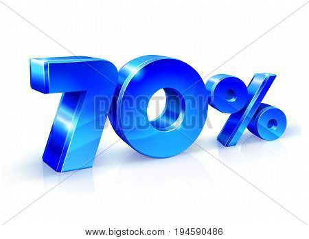 Glossy blue 70 Seventy percent off, sale. Isolated on white background, 3D object. Vector illustration.