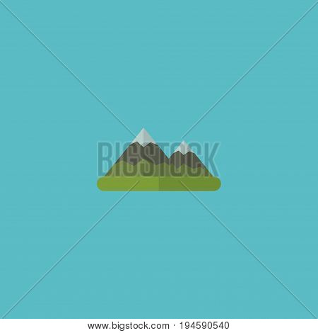 Flat Icon Mountains Element. Vector Illustration Of Flat Icon Hill Isolated On Clean Background. Can Be Used As Hill, Mount And Mountain Symbols.