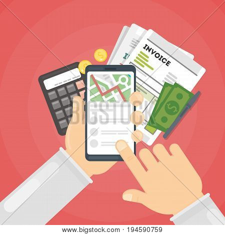 Invoice concept illustration. Invoice documents on smartphone with calculator, money and papers.