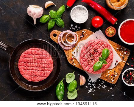 Raw Beef Meat Steak Cutlets For Burger With Spices And Vegetables