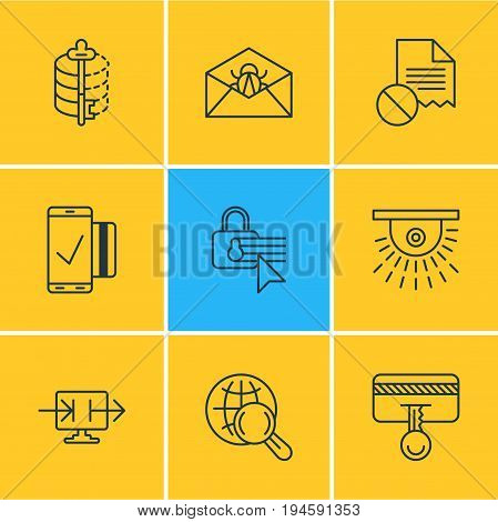 Vector Illustration Of 9 Data Icons. Editable Pack Of Send Information, Confidentiality Options, Safety Key And Other Elements.