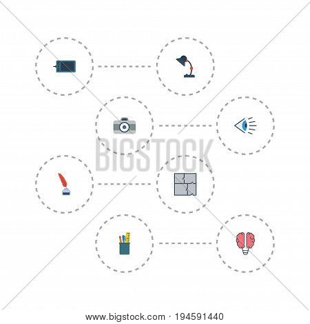 Flat Icons Bulb, Scheme, Gadget And Other Vector Elements. Set Of Constructive Flat Icons Symbols Also Includes Inkwell, Illuminator, Photo Objects.