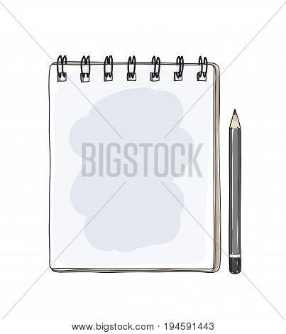 notebook and black pencil hand drawn cute vector art illustration