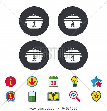 Cooking pan icons. Boil 1, 2, 3 and 4 minutes signs. Stew food symbol. Calendar, Information and Download signs. Stars, Award and Book icons. Light bulb, Shield and Search. Vector