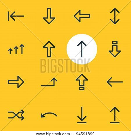 Vector Illustration Of 16 Direction Icons. Editable Pack Of Download, Randomize, Right Elements.