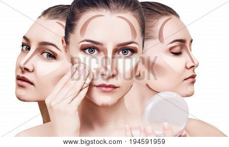 Collage of young woman's faces with contouring makeup. Over white background.