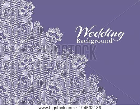 Wedding floral vector background with lace pattern. Wedding lace ornament textile illustration