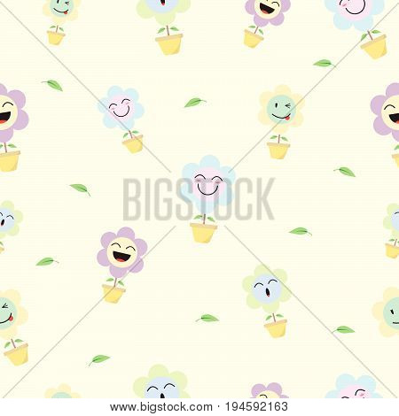 Cute Pastel Flower Emoji Seamless Pattern Background Designed as 4 Happy Facial Expressions Smile Laugh Ho Ho Wink. Useful For General Delight & Fun Cartoon And Emotional Reaction Of Enjoyment.