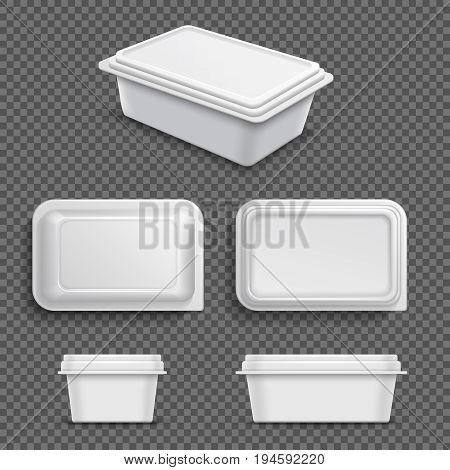 White blank plastic food container for margarine spread or butter. Realistic 3d vector illustration container plastic for food and lunch