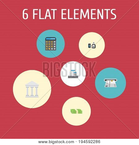 Flat Icons Remote Paying, Teller Machine, Cash Stack And Other Vector Elements. Set Of Banking Flat Icons Symbols Also Includes Money, Payment, Online Objects.