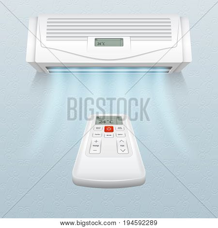 Conditioner with fresh air streams. Climate control in home and office vector illustration. Air conditioner on wall, conditioning climate