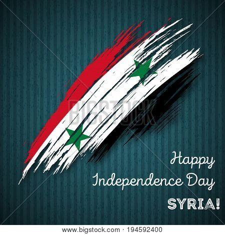 Syria Independence Day Patriotic Design. Expressive Brush Stroke In National Flag Colors On Dark Str