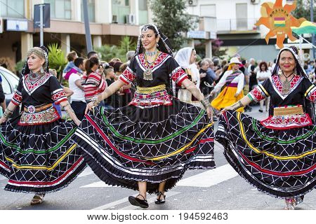 QUARTU S.E. ITALY - JULY 15 2016: 30 Sciampitta - International Folklore Festival - Parade of the African Dance Association - Cagliari - Sardinia