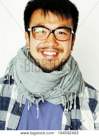 young handsome asian man hipster in glasses on white background, lifestyle people concept close up