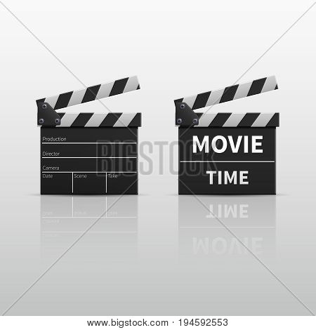 Movie clapperboard or film clapper isolated on white vector illustration. Clapperboard for video clip, board clap for production film