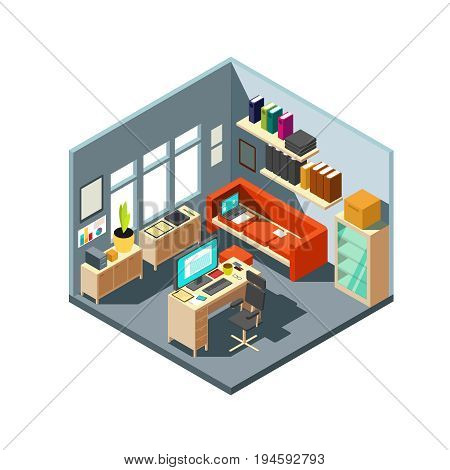 Isometric home office interior. 3d workspace with computer and furniture. Isometric office room with computer and table with chair illustration