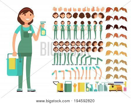 Cleaning company employee. Woman cleaner vector character. Creation constructor with big set of body parts for animation. Workwear worker, leg and arm gesture illustration