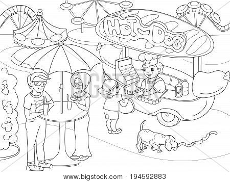 Amusement park coloring pages for children. Hot dog. Food Truck vector illustration. Zentangle style. Black and white
