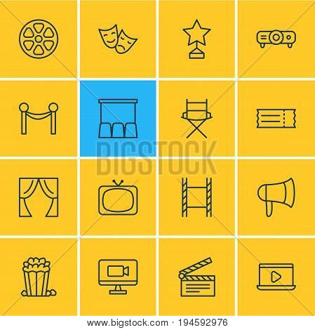 Vector Illustration Of 16 Film Icons. Editable Pack Of Filmstrip, Clapper, Movie Reel And Other Elements.