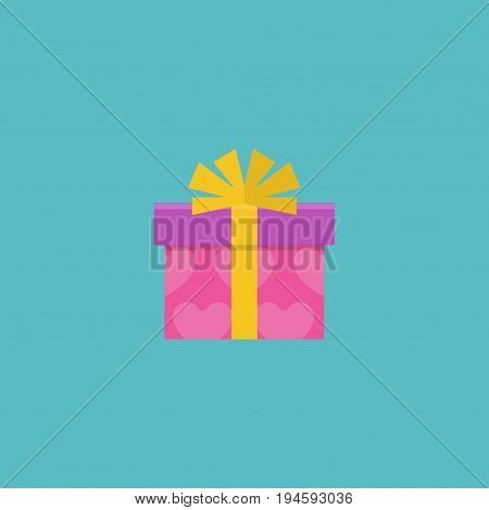 Flat Icon Gift Element. Vector Illustration Of Flat Icon Present Isolated On Clean Background. Can Be Used As Gift, Present And Ribbon Symbols.