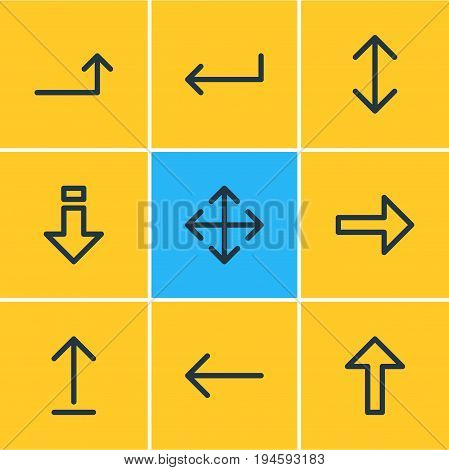 Vector Illustration Of 9 Arrows Icons. Editable Pack Of Raise, Up, Turn And Other Elements.