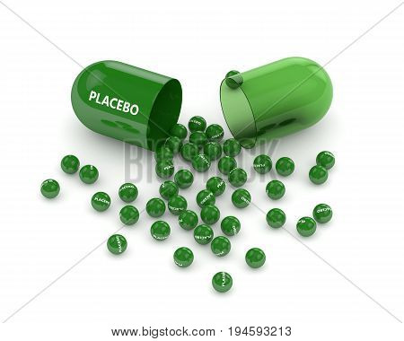 3D Render Of Placebo Pill With Granules Over White
