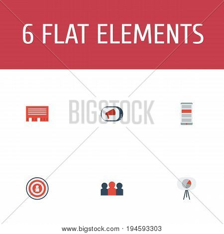 Flat Icons Auditorium, Audience, Television And Other Vector Elements. Set Of Marketing Flat Icons Symbols Also Includes Chatting, Television, Audience Objects.