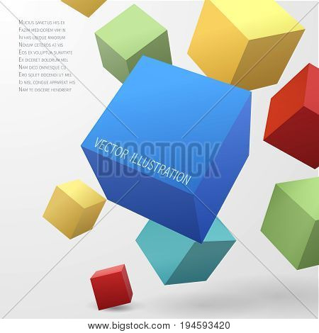 Construction vector concept with 3d cubes. Illustration of color cubes block