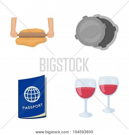 entertainment, business, tourism and other  icon in cartoon style.wine glasses, wine, drink icons in set collection.