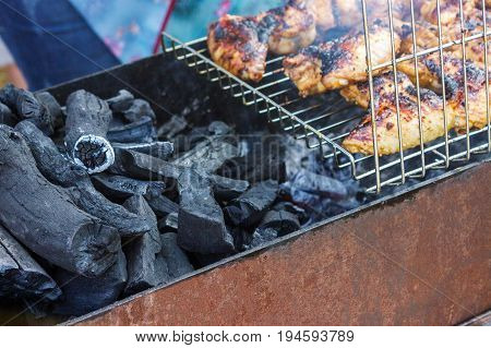 Chicken breast fillet meat shish kebab barbecue on skewers grill. Concept of lifestyle street food. Grilling traditional party picnic.