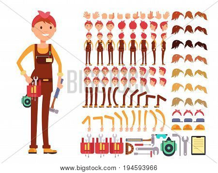 Female technician cartoon vector character. Woman mechanic in jumpsuit creation constructor with body parts for different poses. Woman character mechanic construction illustration