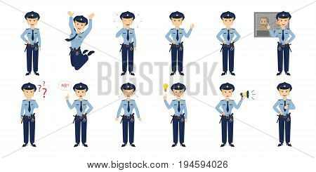 Policewoman emotion set on white background. Smiling, sad, angry and more.