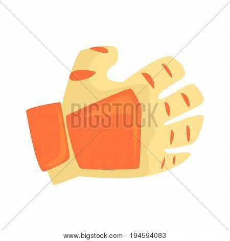 Orange sport glove, handball sport equipment cartoon vector Illustration isolated on a white background