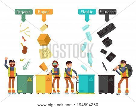 Garbage waste segregation for recycling vector concept. Segregate waste and separate trash illustration