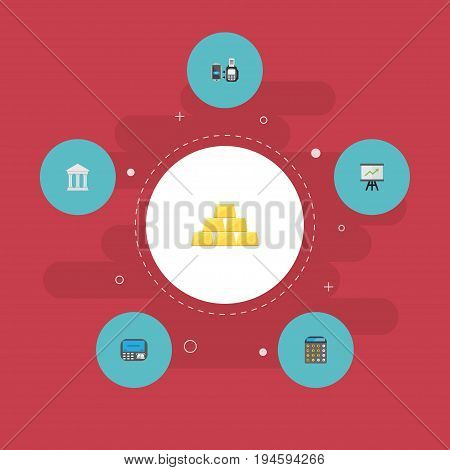 Flat Icons Remote Paying, Bank, Accounting And Other Vector Elements. Set Of Banking Flat Icons Symbols Also Includes Machine, Finance, Growing Objects.