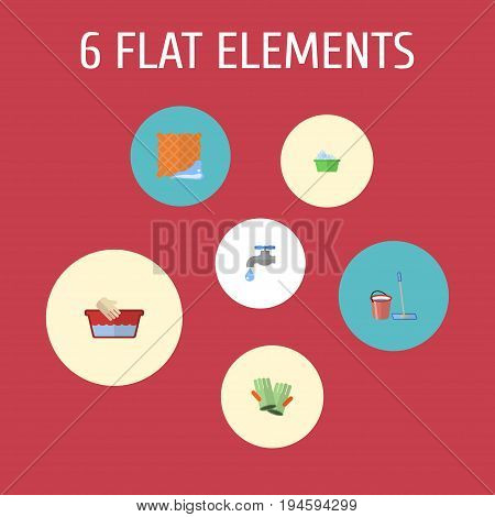 Flat Icons Gauntlet, Mopping, Washcloth And Other Vector Elements. Set Of Cleaning Flat Icons Symbols Also Includes Water, Tap, Washcloth Objects.