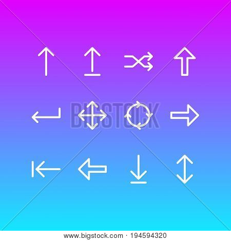 Vector Illustration Of 12 Sign Icons. Editable Pack Of Direction, Exchange, Turn And Other Elements.