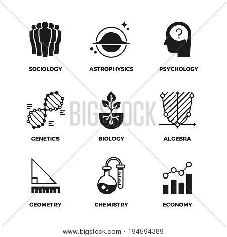 Science vector icons set. Genetics and economy, algebra and chemistry. Geometry and biology, psychology and astrophysics, sociology symbols. Monochrome illustration sign of science discipline
