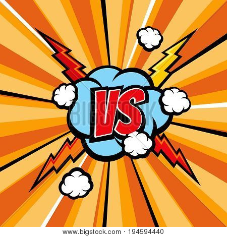 Versus battle comic vector background with halftone book texture and lightning. Confrontation vs, cartoon duel and opposition illustration