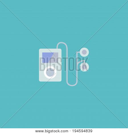 Flat Icon Audio Device Element. Vector Illustration Of Flat Icon Mp3 Player Isolated On Clean Background. Can Be Used As Audio, Player And Mp3 Symbols.
