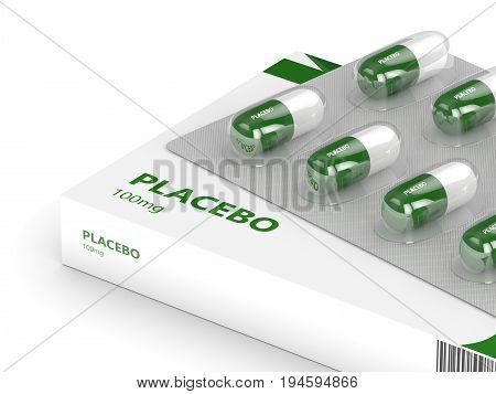 3D Render Of Placebo Pills Over White