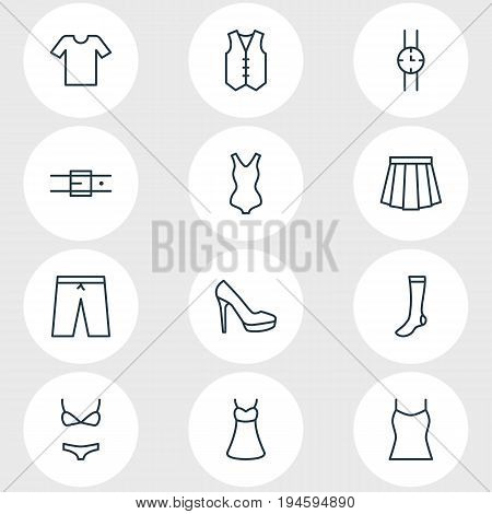 Vector Illustration Of 12 Garment Icons. Editable Pack Of Waistcoat, Singlet, Evening Dress And Other Elements.