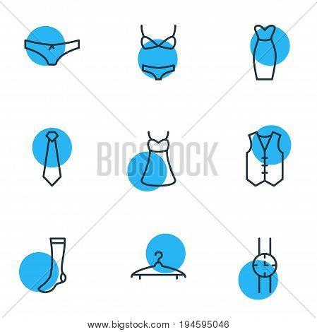 Vector Illustration Of 9 Dress Icons. Editable Pack Of Hand Clock, Waistcoat, Hosiery Elements.