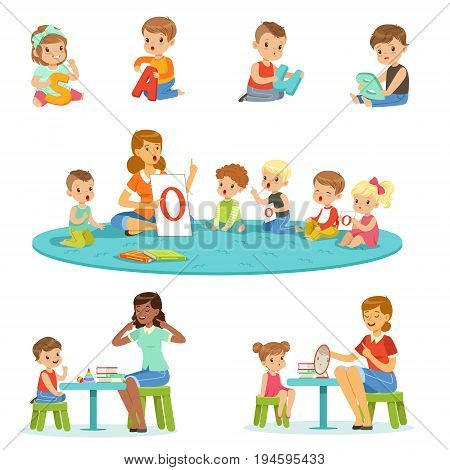 Smiling little boys and girls sitting on the floor and studying alphabet with their teacher set. Childrens activity in the kindergarden colorful vector illustrations isolated on a light blue background