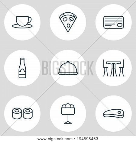 Vector Illustration Of 9 Cafe Icons. Editable Pack Of Tea, Sundae, Alcohol And Other Elements.