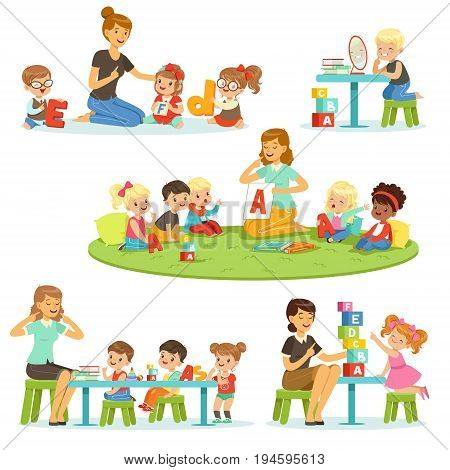 Teacher explaining alphabet to children around her set. Smiling little boys and girls playing and studying in kindergarten vector illustrations isolated on a light blue background
